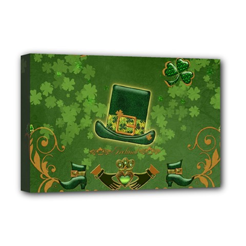 Happy St  Patrick s Day With Clover Deluxe Canvas 18  X 12   by FantasyWorld7