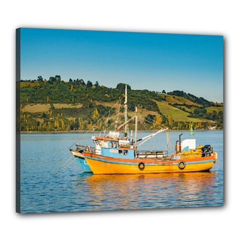Fishing Boat At Lake, Chiloe, Chile Canvas 24  X 20  by dflcprints