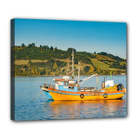 Fishing Boat At Lake, Chiloe, Chile Deluxe Canvas 24  X 20   by dflcprints