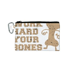 Work Hard Your Bones Canvas Cosmetic Bag (small) by Melcu