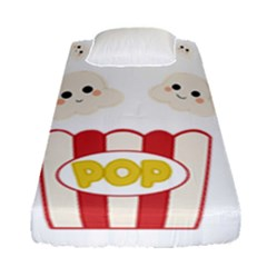 Cute Kawaii Popcorn Fitted Sheet (single Size) by Valentinaart