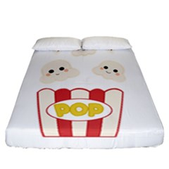 Cute Kawaii Popcorn Fitted Sheet (california King Size) by Valentinaart