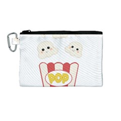 Cute Kawaii Popcorn Canvas Cosmetic Bag (medium) by Valentinaart