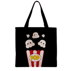 Cute Kawaii Popcorn Zipper Grocery Tote Bag by Valentinaart
