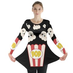 Cute Kawaii Popcorn Long Sleeve Tunic  by Valentinaart
