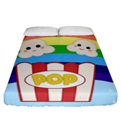Cute Kawaii Popcorn Fitted Sheet (king Size) by Valentinaart