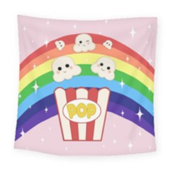 Cute Kawaii Popcorn Square Tapestry (large) by Valentinaart