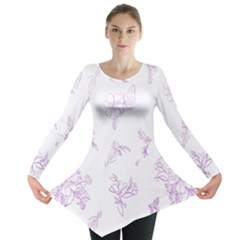Beautiful,violet,floral,shabby Chic,pattern Long Sleeve Tunic  by 8fugoso