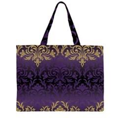 Art Nouveau,vintage,damask,gold,purple,antique,beautiful Zipper Large Tote Bag by 8fugoso