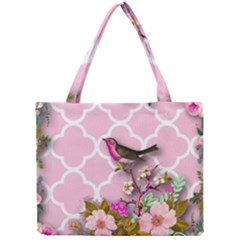Shabby Chic, Floral,pink,birds,cute,whimsical Mini Tote Bag