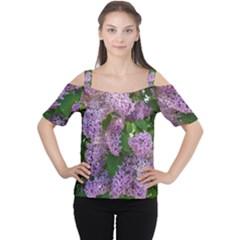Lilacs 2 Cutout Shoulder Tee by dawnsiegler