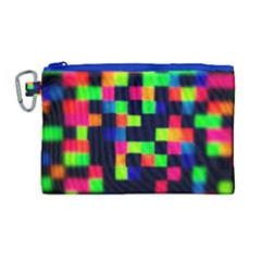 Squares Canvas Cosmetic Bag (large) by dawnsiegler