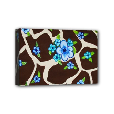 Floral Giraffe Print Mini Canvas 6  X 4  by dawnsiegler