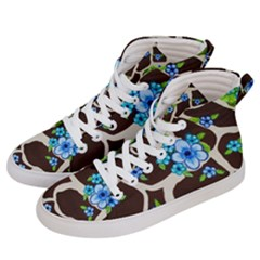 Floral Giraffe Print Men s Hi Top Skate Sneakers by dawnsiegler
