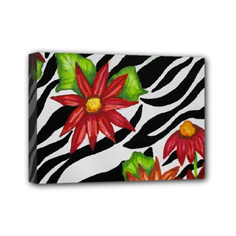 Floral Zebra Print Mini Canvas 7  X 5  by dawnsiegler