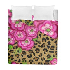 Floral Leopard Print Duvet Cover Double Side (full/ Double Size) by dawnsiegler