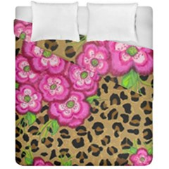 Floral Leopard Print Duvet Cover Double Side (california King Size) by dawnsiegler