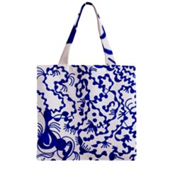 Dna Lines Zipper Grocery Tote Bag by MRTACPANS