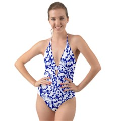 Dna Lines Halter Cut Out One Piece Swimsuit