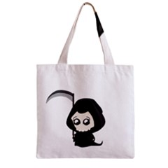 Cute Grim Reaper Zipper Grocery Tote Bag by Valentinaart