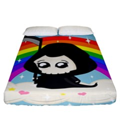 Cute Grim Reaper Fitted Sheet (king Size) by Valentinaart
