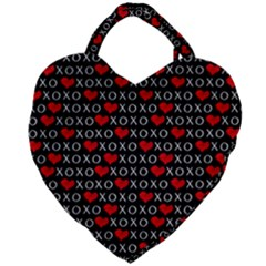 Xoxo Valentines Day Pattern Giant Heart Shaped Tote by Valentinaart