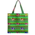 Rainbow Ponies Zipper Grocery Tote Bag