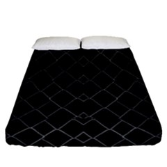 Black And White Grid Pattern Fitted Sheet (queen Size) by dflcprints