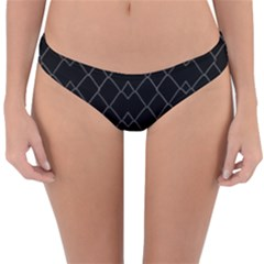 Black And White Grid Pattern Reversible Hipster Bikini Bottoms by dflcprints