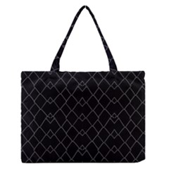 Black And White Grid Pattern Zipper Medium Tote Bag by dflcprints