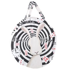 White Rabbit In Wonderland Giant Round Zipper Tote