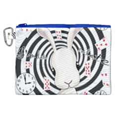 White Rabbit In Wonderland Canvas Cosmetic Bag (xl) by Valentinaart
