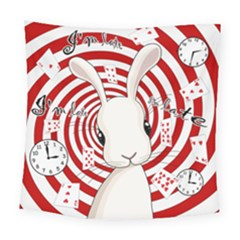White Rabbit In Wonderland Square Tapestry (large) by Valentinaart