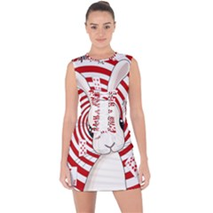 White Rabbit In Wonderland Lace Up Front Bodycon Dress by Valentinaart