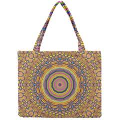 Wood Festive Rainbow Mandala Mini Tote Bag by pepitasart