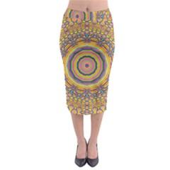 Wood Festive Rainbow Mandala Midi Pencil Skirt by pepitasart