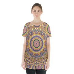 Wood Festive Rainbow Mandala Skirt Hem Sports Top by pepitasart