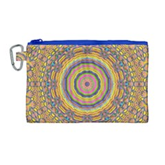 Wood Festive Rainbow Mandala Canvas Cosmetic Bag (large) by pepitasart