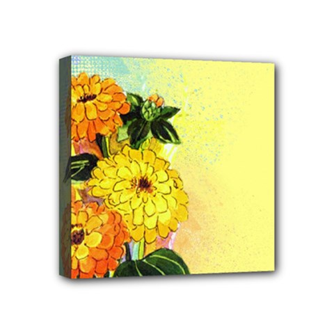 Background Flowers Yellow Bright Mini Canvas 4  X 4