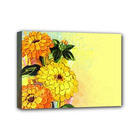 Background Flowers Yellow Bright Mini Canvas 7  X 5