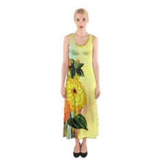 Background Flowers Yellow Bright Sleeveless Maxi Dress