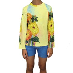 Background Flowers Yellow Bright Kids  Long Sleeve Swimwear