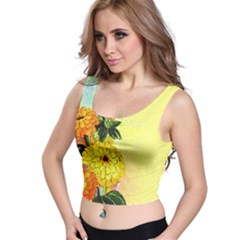 Background Flowers Yellow Bright Crop Top