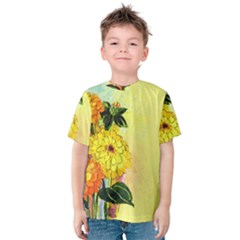 Background Flowers Yellow Bright Kids  Cotton Tee