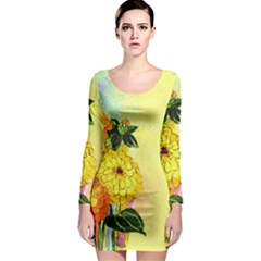 Background Flowers Yellow Bright Long Sleeve Bodycon Dress