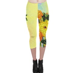Background Flowers Yellow Bright Capri Leggings