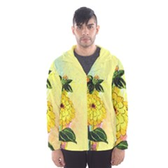 Background Flowers Yellow Bright Hooded Wind Breaker (men)