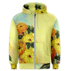 Background Flowers Yellow Bright Men s Zipper Hoodie