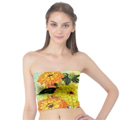 Background Flowers Yellow Bright Tube Top