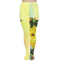 Background Flowers Yellow Bright Women s Tights